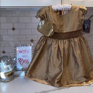 GYMBOREE SILK GOLD DRESS W BLOOMER👑